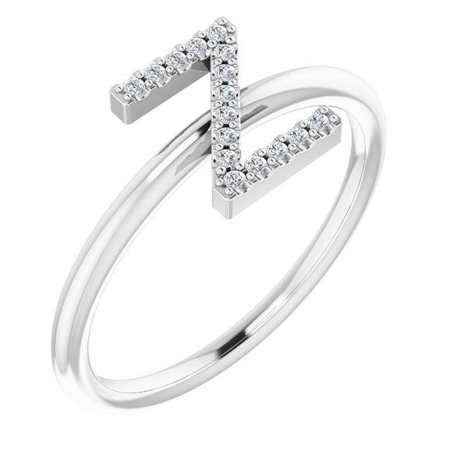14K White .06 CTW Diamond Initial Z Ring