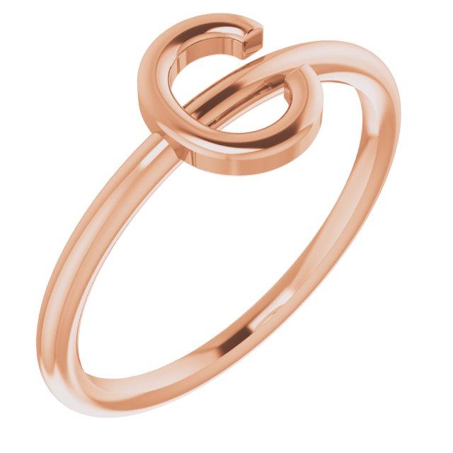 14K Rose Initial C Ring