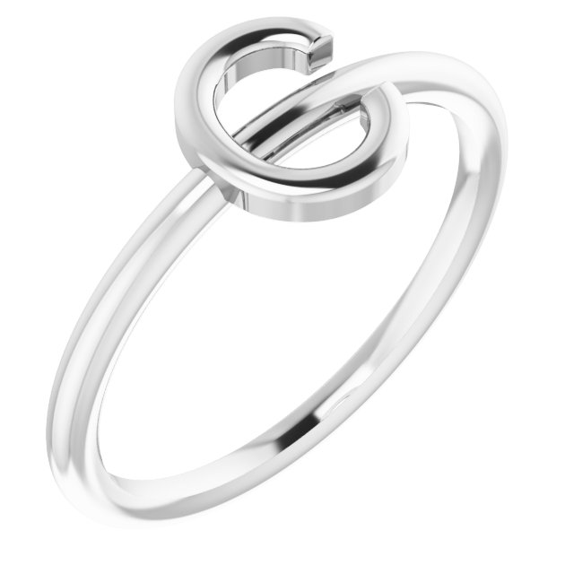 Sterling Silver Initial C Ring