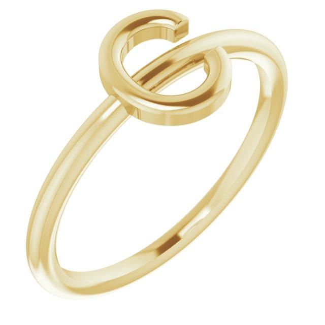 14K Yellow Initial C Ring