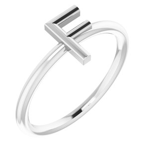 Sterling Silver Initial F Ring