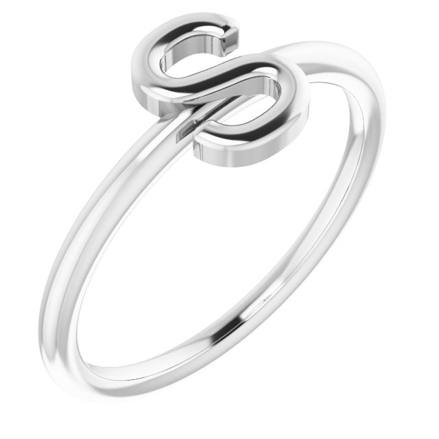 Sterling Silver Initial S Ring