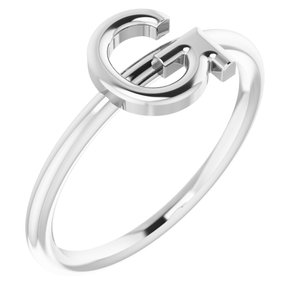 Sterling Silver Initial G Ring