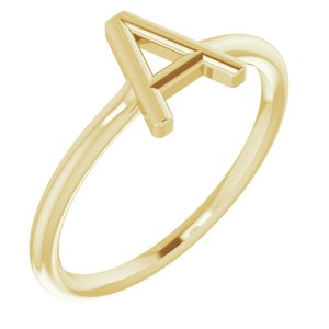 14K Yellow Initial A Ring
