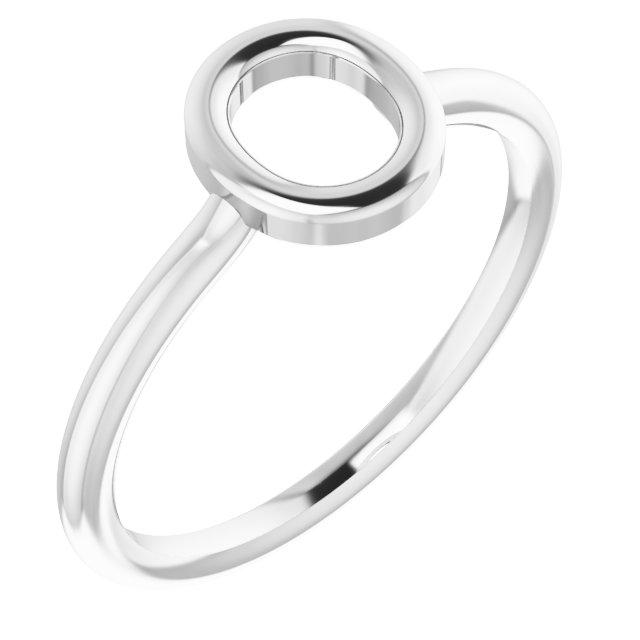 14K White Initial O Ring