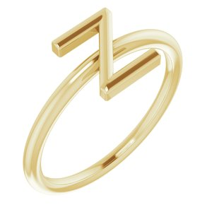 14K Yellow Initial Z Ring