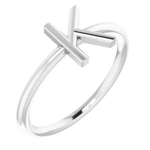 Sterling Silver Initial K Ring