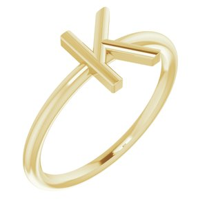 14K Yellow Initial K Ring