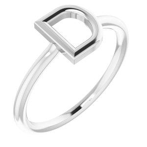 14K White Initial D Ring