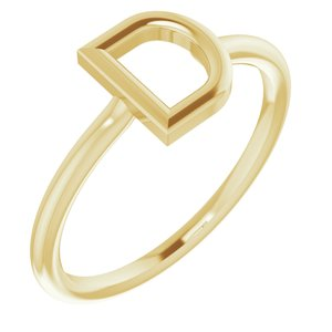 14K Yellow Initial D Ring