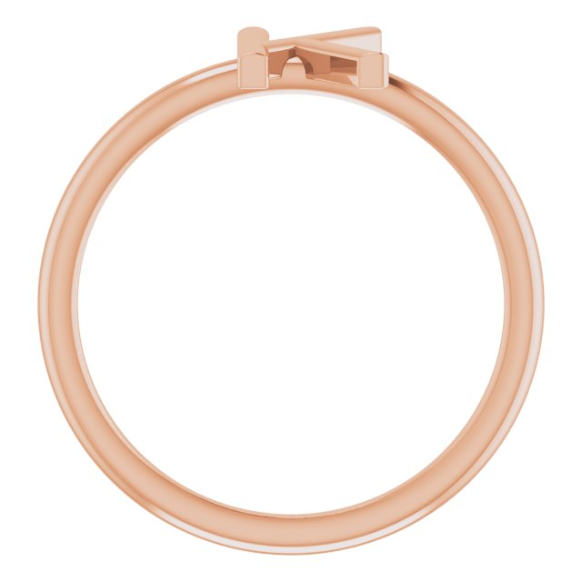 14K Rose Initial K Ring