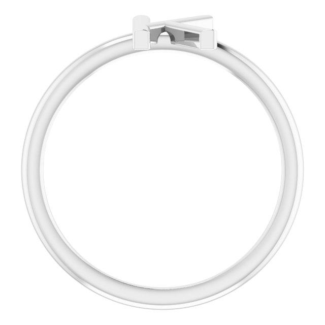 14K White Initial K Ring