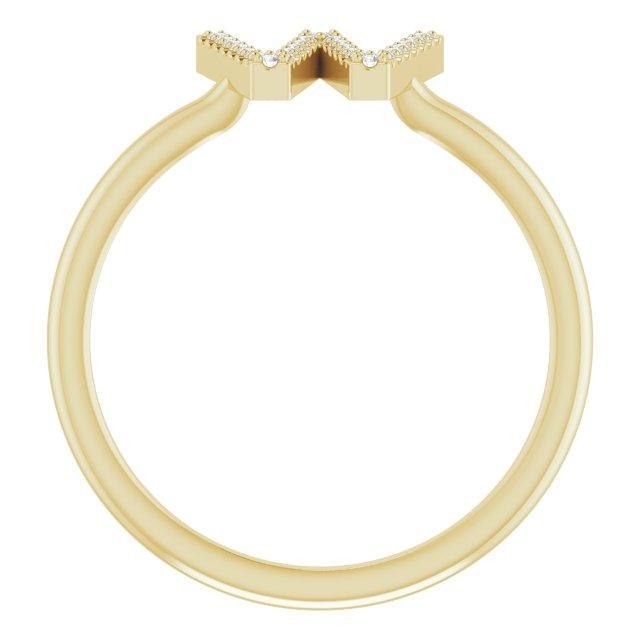 14K Yellow .07 CTW Diamond Initial W Ring