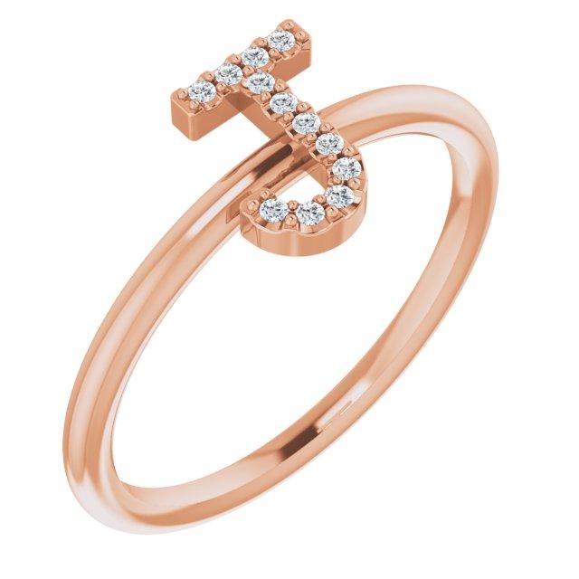 14K Rose .05 CTW Diamond Initial J Ring