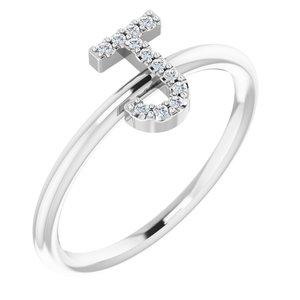 14K White .05 CTW Diamond Initial J Ring