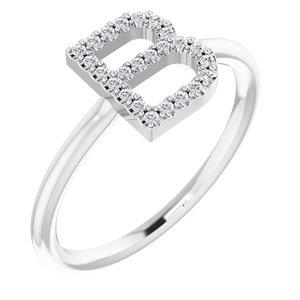 14K White 1/8 CTW Diamond Initial B Ring