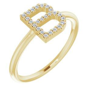 14K Yellow 1/8 CTW Diamond Initial B Ring