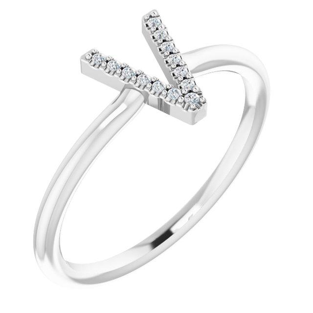 14K White .04 CTW Diamond Initial V Ring