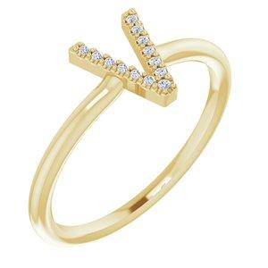 14K Yellow .04 CTW Diamond Initial V Ring