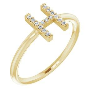 14K Yellow .07 CTW Diamond Initial H Ring