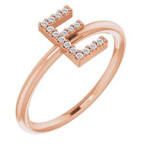 14K Rose .07 CTW Diamond Initial E Ring
