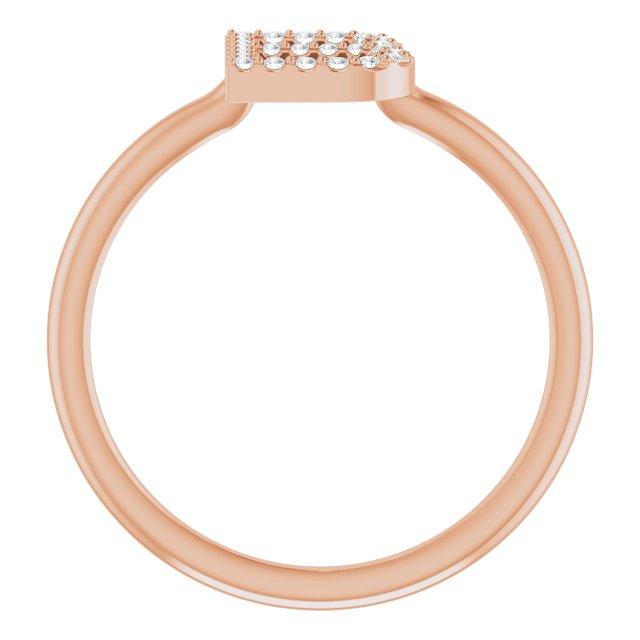 14K Rose .08 CTW Diamond Initial B Ring