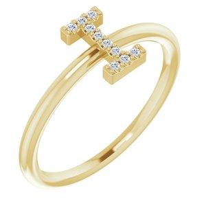 14K Yellow .04 CTW Diamond Initial I Ring