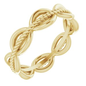 14K Yellow Rope Design Band Size 7