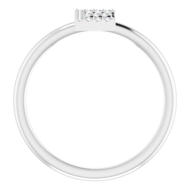 14K White .06 CTW Diamond Initial E Ring