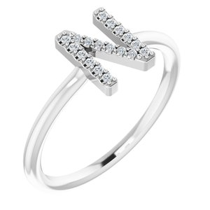 14K White .08 CTW Diamond Initial N Ring