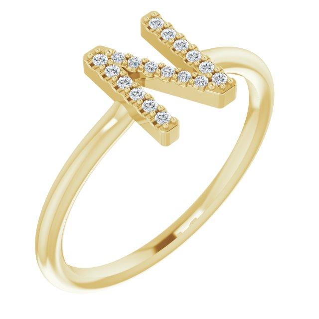 14K Yellow .08 CTW Diamond Initial N Ring