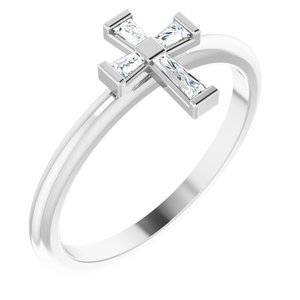14K White 1/10 CTW Diamond Stackable Cross Ring
