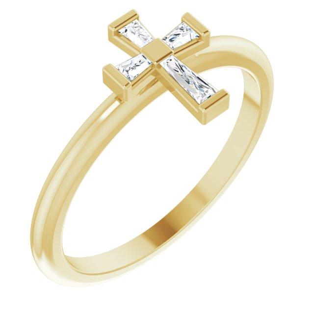 14K Yellow 1/10 CTW Diamond Stackable Cross Ring