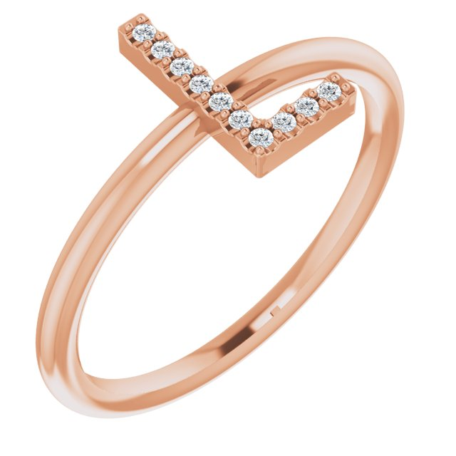 14K Rose .05 CTW Diamond Initial L Ring