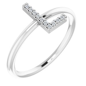 14K White .05 CTW Diamond Initial L Ring