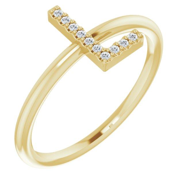 14K Yellow .05 CTW Diamond Initial L Ring
