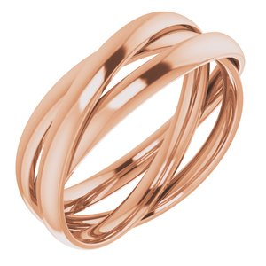 14K Rose Three Band Rolling Ring Size 7