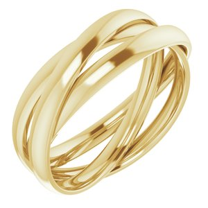 14K Yellow Three Band Rolling Ring Size 7