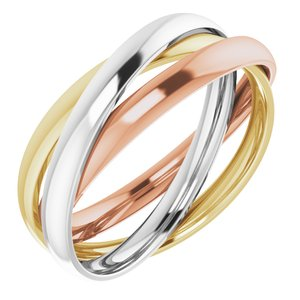 14K Tri-Color Three Band Rolling Ring Size 7.5