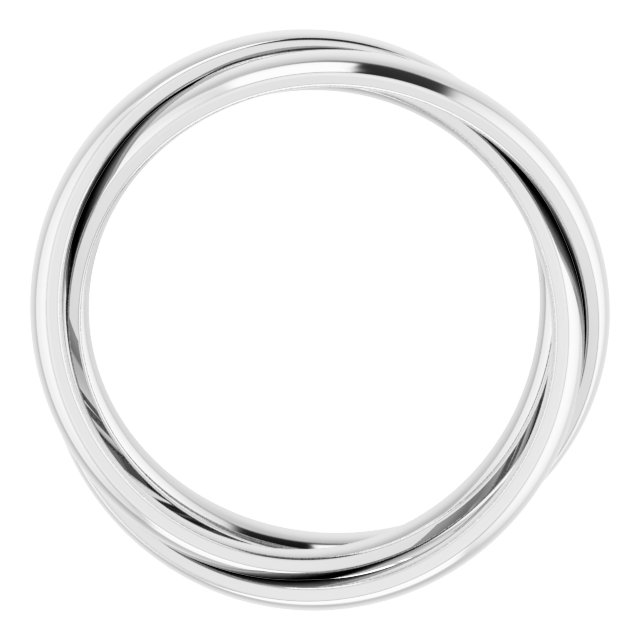 14K White Three Band Rolling Ring Size 12.5