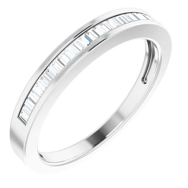 14K White 1/4 CTW Diamond Anniversary Band Size 8