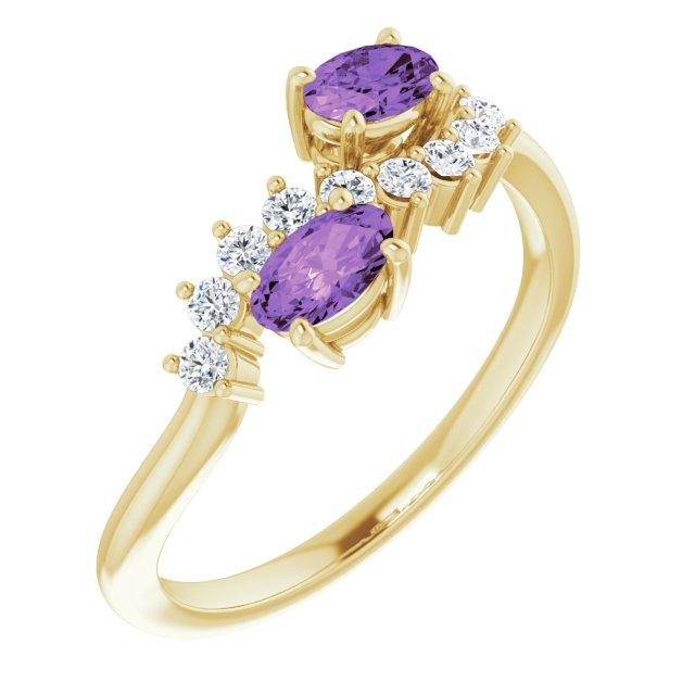 14K Yellow Amethyst & 1/5 CTW Diamond Ring