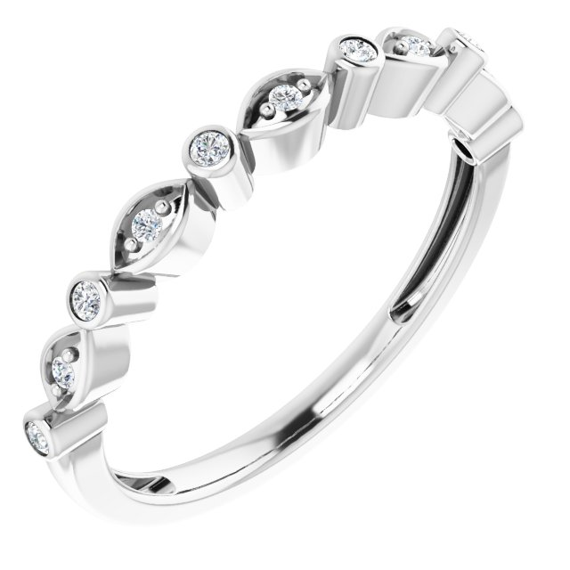 14K White 1/8 CTW Diamond Stackable Anniversary Band