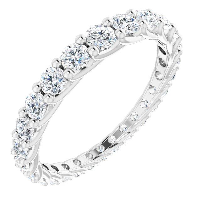 14K White 1 1/3 CTW Diamond Graduated Eternity Band Size 7