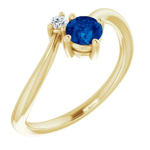 14K Yellow Blue Sapphire & .025 CTW Diamond Ring