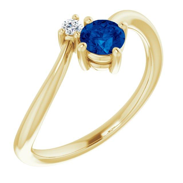 14K Yellow Blue Sapphire & .025 CTW Diamond Ring