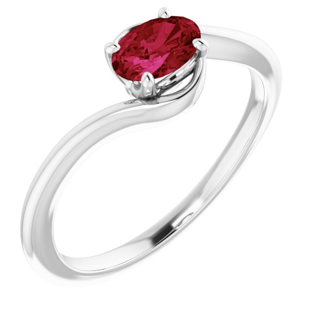 14K White Lab-Grown Ruby Ring
