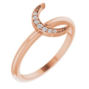 14K Rose .04 CTW Diamond Stackable Crescent Ring