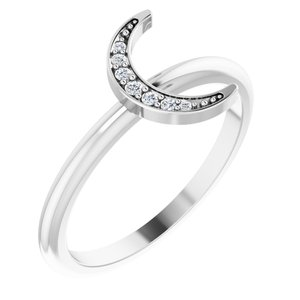 Sterling Silver .04 CTW Diamond Stackable Crescent Ring