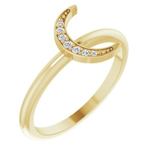 14K Yellow .04 CTW Diamond Stackable Crescent Ring